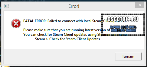 Fatal Error failed to connect to local steam client process кс го